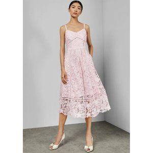 NEW Ted Baker Valens Lace Midi Dress Pink Medium 3